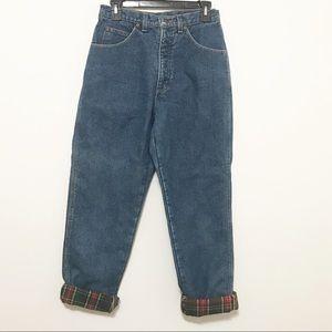 Vtg Lands End Plaid Lined Blue Mom Jeans